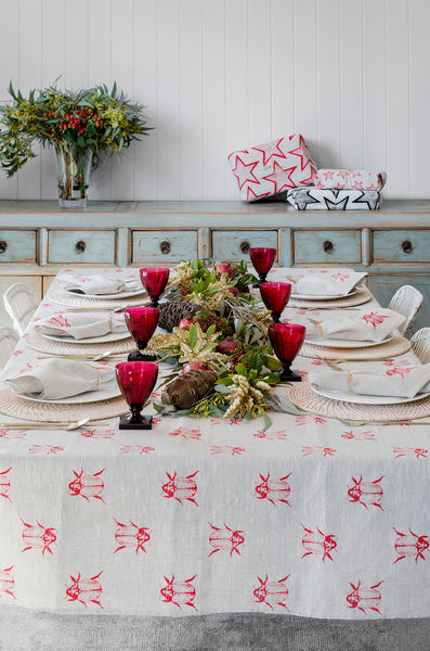 Red Christmas Beetle linen tablecloth