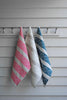 White Lace Stripe linen tea towel