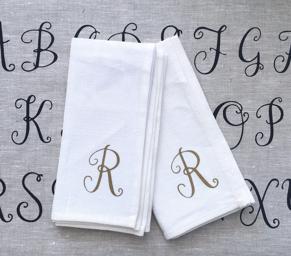 Monogram linen napkins (set of 4)