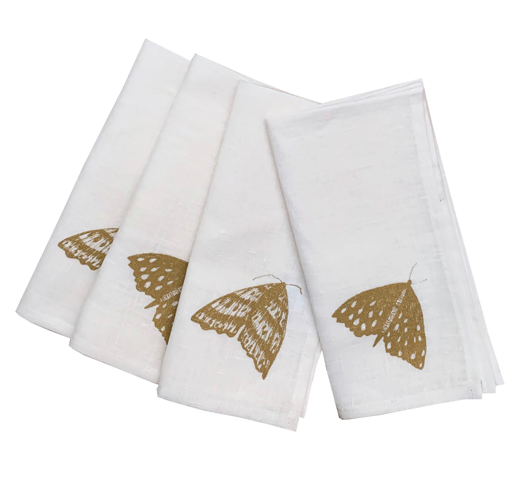 Gold Moth linen napkins (set of 4)