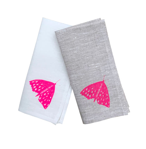 Neon crimson Moth linen napkins (set of 4)