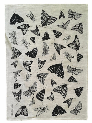Black Moths linen tea towel (natural or white)
