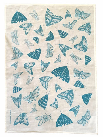Blue Moths linen tea towel (natural or white)