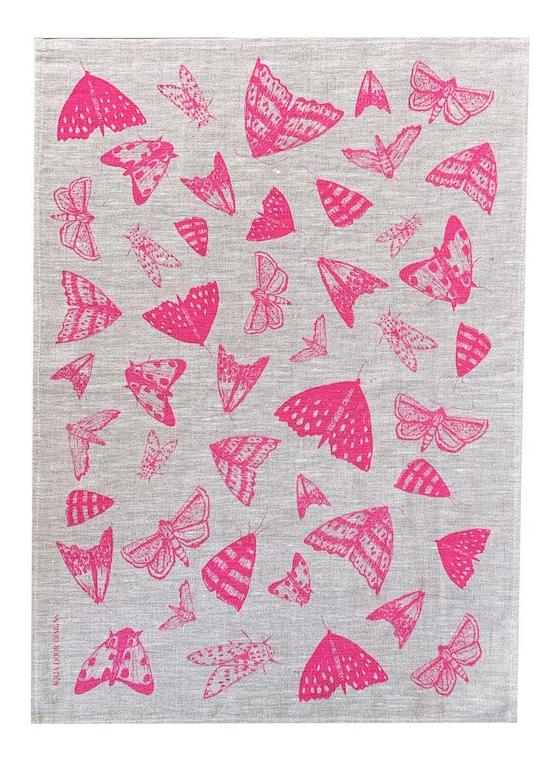 Neon Crimson Moths linen tea towel (natural or white)