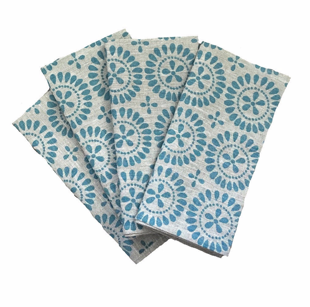 Blue Eyelet linen napkins (set of 4)