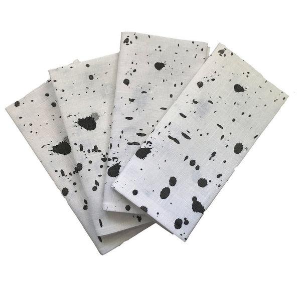Black Ink splatter linen napkins (set of 4)