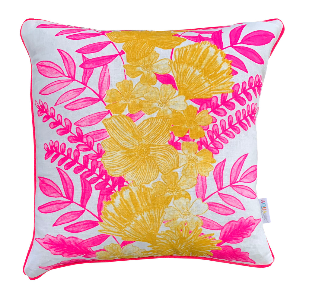 Neon Crimson & Yellow Floral Centrepiece linen cushion cover