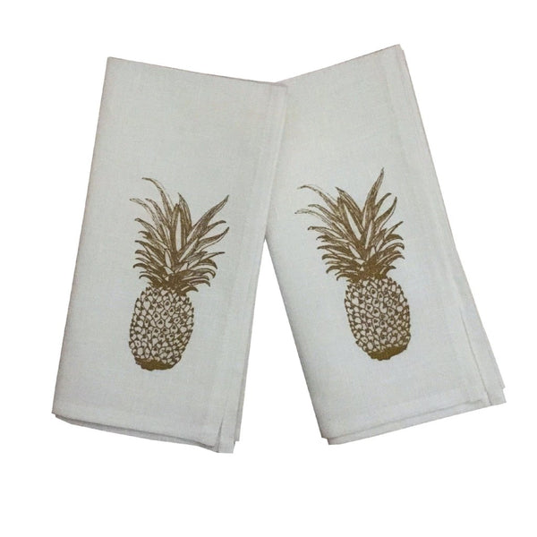 Gold pineapple linen napkins (set of 4)