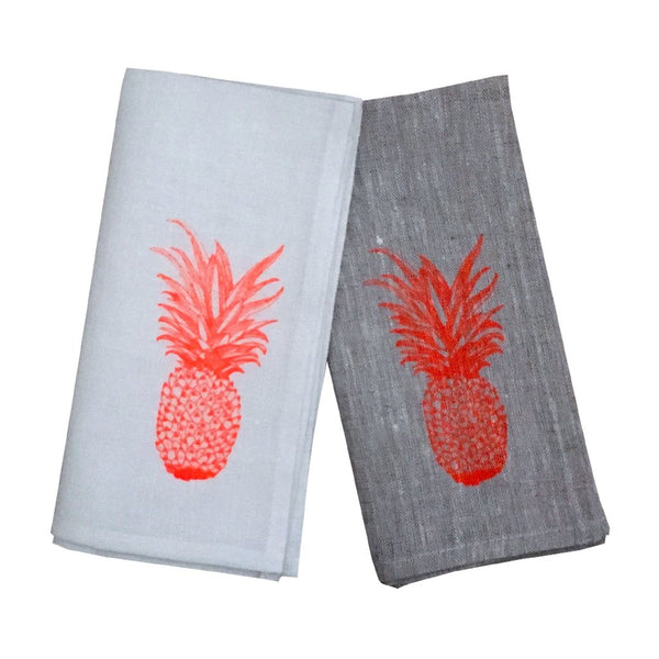 Neon orange pineapple linen napkins (set of 4)