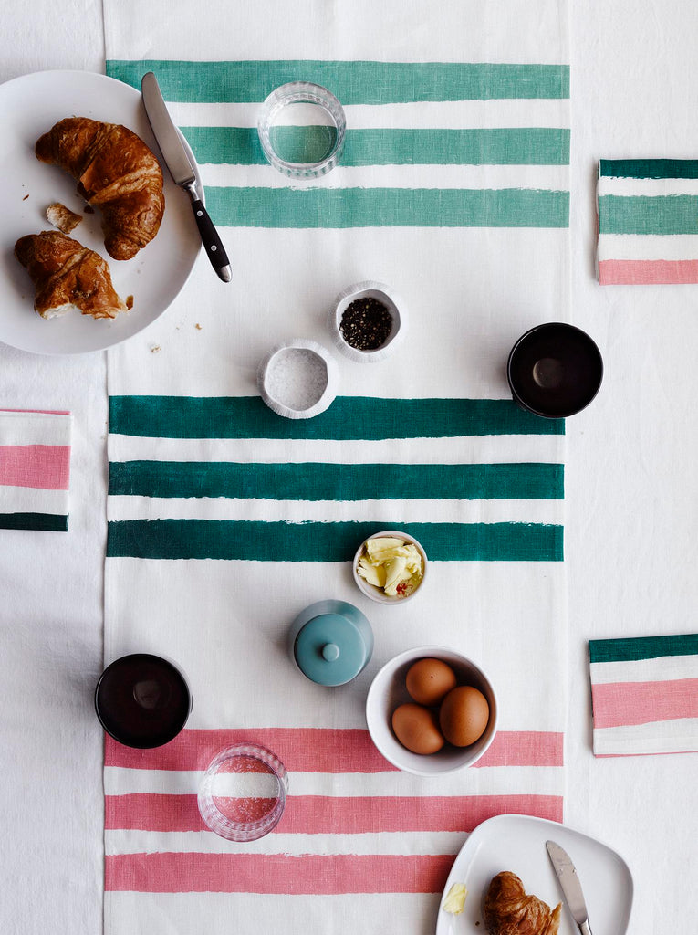 Sage, Forest & Blush Stripes linen table runner