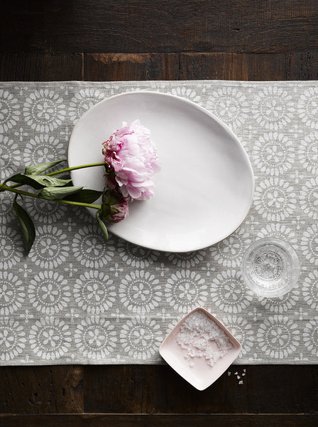 White Eyelet linen table runner
