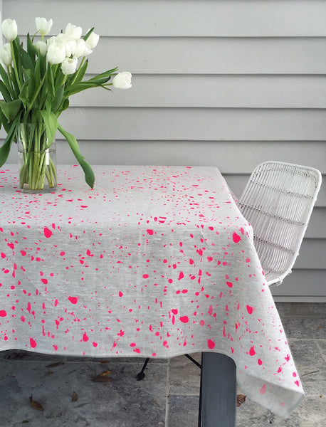 Neon pink Ink Splatter linen tablecloth