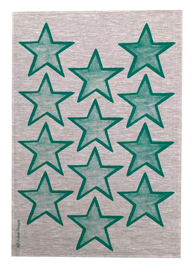 Green Stars linen tea towel (Natural and off-white)
