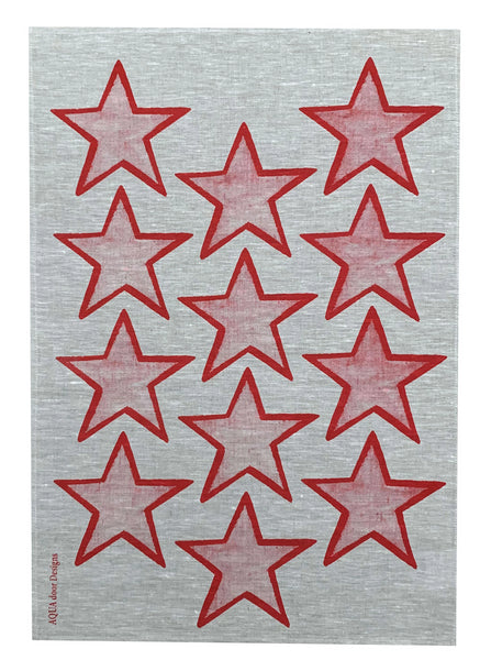Red Stars linen tea towel (Natural and off-white)