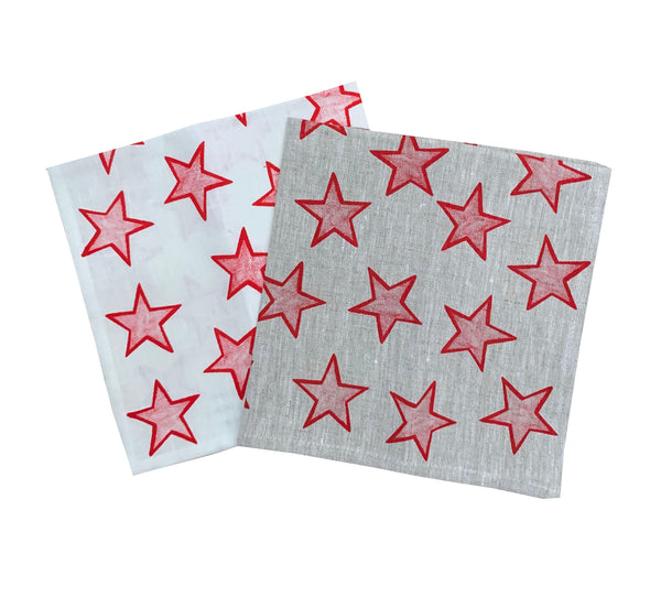 Red Stars linen napkins (set of 4)