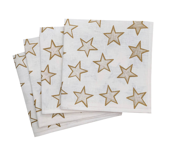 Gold Stars linen napkins (set of 4)