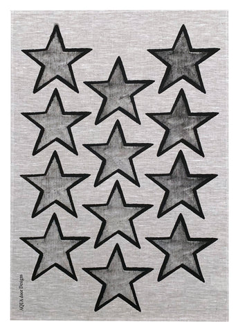 Black Stars linen tea towel (Natural and off-white)