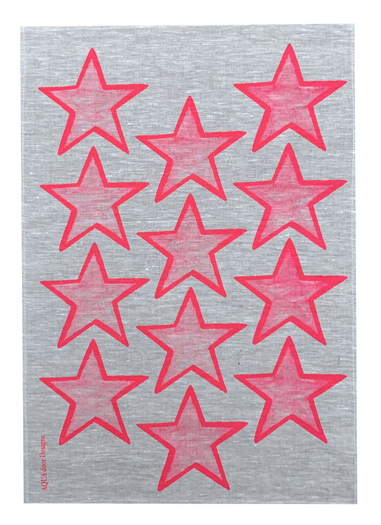 Neon pink Stars linen tea towel (Natural and off-white)