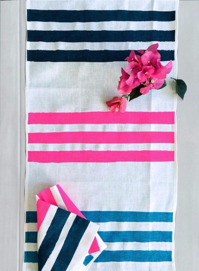 Sky, Neon crimson and navy Stripes linen table runner