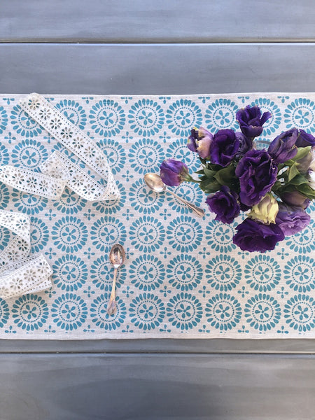 Blue Eyelet linen table runner