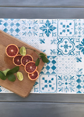 Blue Tiles linen table runner