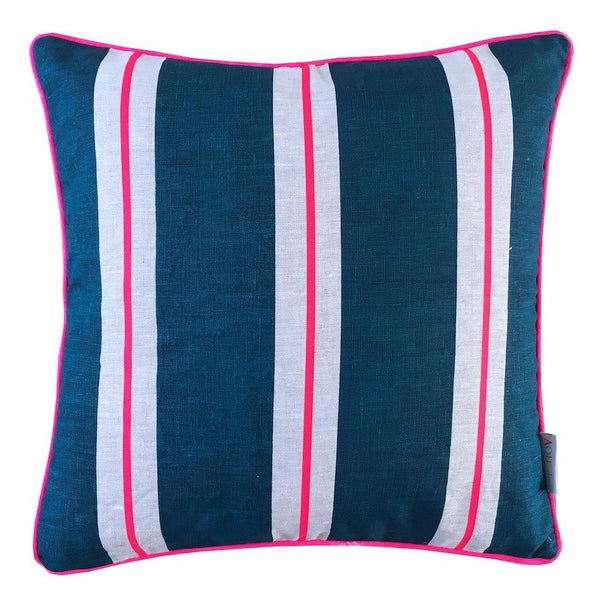 Navy and neon pink Thick and Think Stripe linen cushion cover