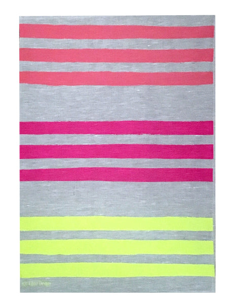 Triple Stripe linen tea towel in Flamingo, Neon crimson & Neon Yellow (Natural and off-white)