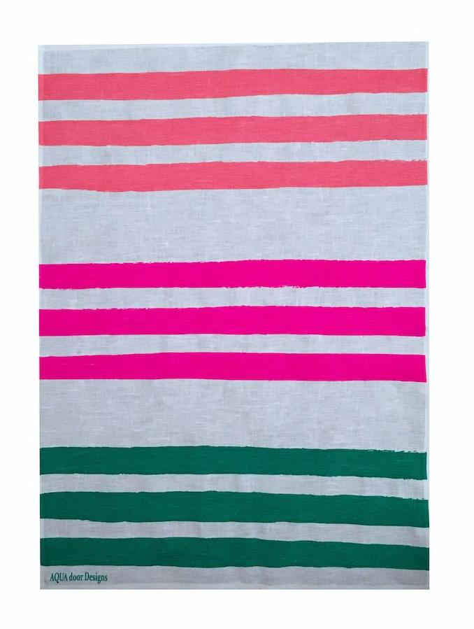 Triple Stripe linen tea towel in Flamingo, Neon Crimson and Green (Natural and off-white)
