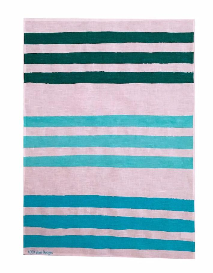 Triple Stripe linen tea towel in Forest, aqua and turquoise (Natural and off-white)