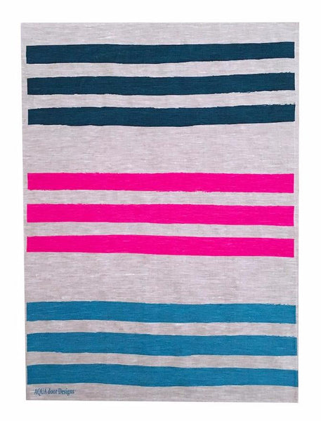 Triple Stripe linen tea towel in Ink, Neon Crimson and Sky (Natural and off-white)