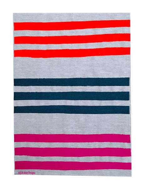 Triple Stripe linen tea towel in Neon orange, Ink and Neon Magenta (Natural and off-white)