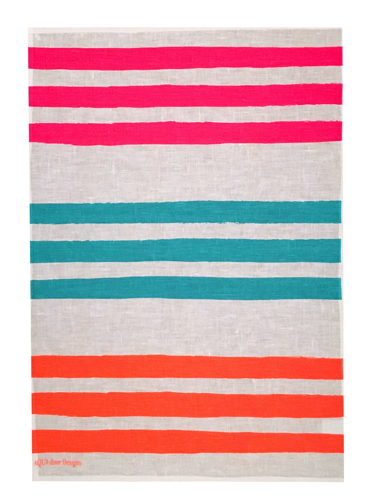 Triple Stripe linen tea towel in Neon pink, Turquoise & Neon orange (Natural and off-white)