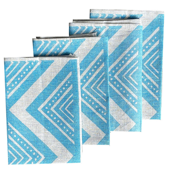 Light blue ZigZag linen napkins (set of 4)
