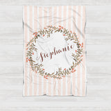 Fleece Blanket - Light pink and brown watercolor wreath - howjoyfulshop