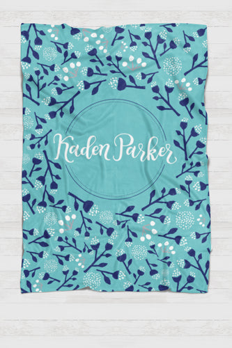 Personalized Swaddle - Background circle around blooms - howjoyfulshop