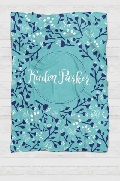 CUSTOM NAME Swaddle - Background blooms - 0P25