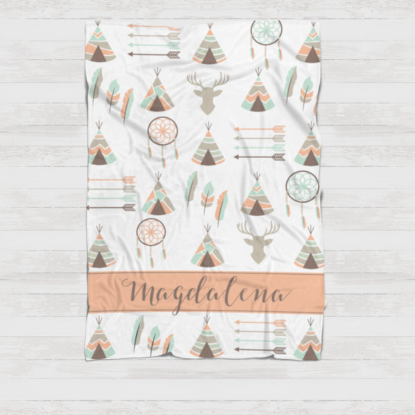 Fleece Blanket - Boho teepee watercolor pink - howjoyfulshop