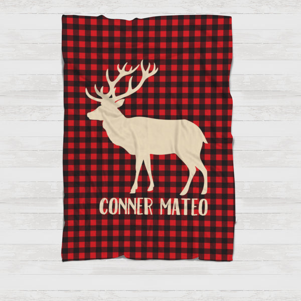 Fleece Blanket - Buffalo plaid red deer - howjoyfulshop