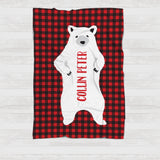 Fleece Blanket - Plaid - White Bear with custom name - howjoyfulshop