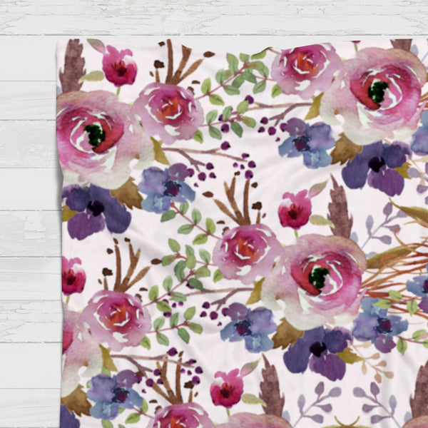 Fleece Blanket - Purple floral background - howjoyfulshop