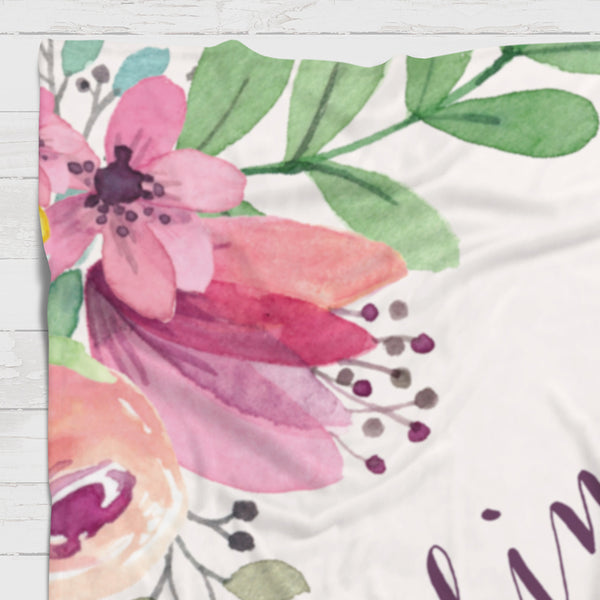 Fleece Blanket - Soft flowers watercolor edges - howjoyfulshop