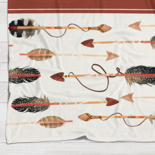 Fleece Blanket - Brown western arrows - howjoyfulshop