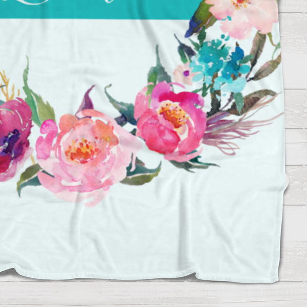 Fleece Blanket - Teal watercolor flowers wreath - howjoyfulshop