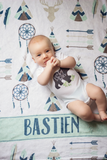 Fleece Blanket - Custom name southwest blue and mint - howjoyfulshop