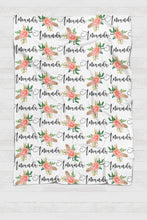 Load image into Gallery viewer, Personalized Swaddle - Feathers and peach flowers Botanical - howjoyfulshop
