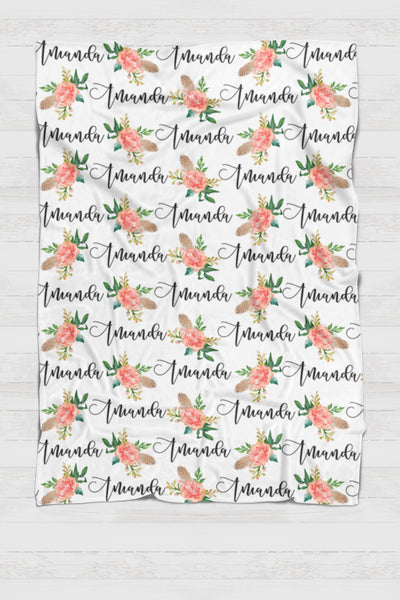 Fleece Blanket - Custom name and blooms - Feather and orange - 0P51