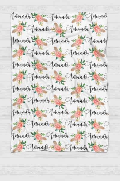Personalized Swaddle - Feathers and peach flowers Botanical