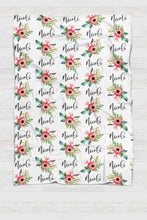 Load image into Gallery viewer, Personalized Swaddle - Red and green Botanical - howjoyfulshop