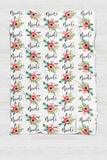 Fleece Blanket - Custom name and blooms - Red and green - 0P52