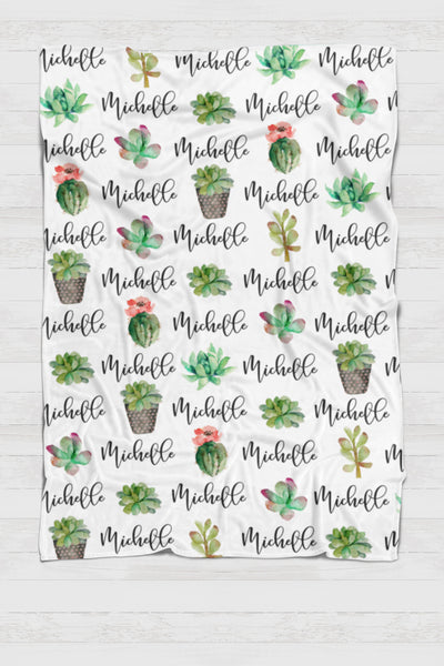 Fleece Blanket - Custom names and succulents - 0P53